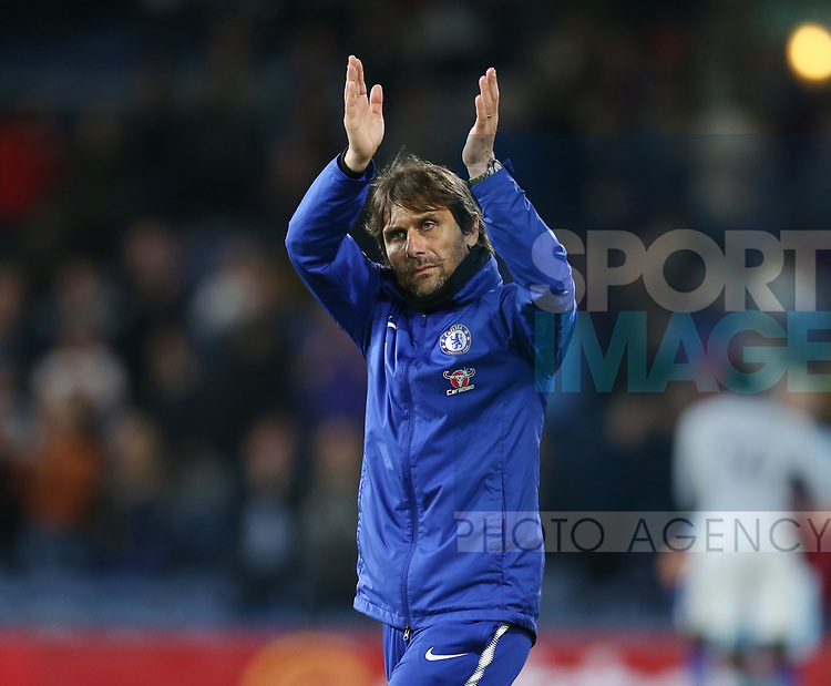 Despite the win a downbeat Antonio Conte manager of Chelsea applauds the fans during the premier league match at the Turf Moor Stadium, Burnley. Picture date 19th April 2018. Picture credit should read: Simon Bellis/Sportimage
