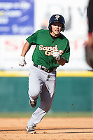 Patrick Biondi (5) of the Savannah Sand Gnats hustles towards third base against the Hickory Crawdads at L.P. Frans Stadium on June 14, 2015 in Hickory, North Carolina.  The Crawdads defeated the Sand Gnats 8-1.  (Brian Westerholt/Four Seam Images)