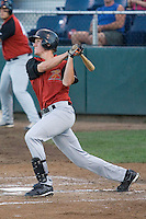 August 14, 2007: Infielder Matthew Downs of the Salem-Keizer Volcanoes follows through after connecting with a pitch against the Everett AquaSox during a Northwest League game at Everett Memorial Stadium in Everett, Washington.