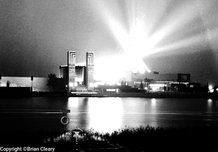 Nighttime exposure looking across lagoon at Electrical group buildings of the Chicago World's Fair, 1930's.(Photographer Unknown/www.bcpix.com)