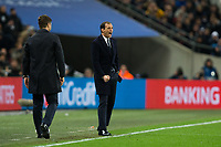 Massimiliano Allegri Head Coach of Juventus reacts <br /> <br /> Photographer Craig Mercer/CameraSport<br /> <br /> UEFA Champions League Round of 16 Second Leg - Tottenham Hotspur v Juventus - Wednesday 7th March 2018 - Wembley Stadium - London <br />  <br /> World Copyright &copy; 2017 CameraSport. All rights reserved. 43 Linden Ave. Countesthorpe. Leicester. England. LE8 5PG - Tel: +44 (0) 116 277 4147 - admin@camerasport.com - www.camerasport.com