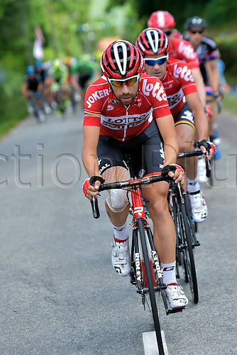 09.07.2015 Le Havre, France.  DE GENDT Thomas of Lotto Soudal leading the pack during stage 6 of the 102nd edition of the Tour de France 2015 with start in Abbeville and finish in Le Havre, France (191 kms)