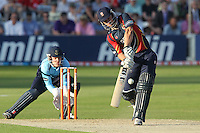 Ryan ten Doeschate hits a huge six out of the ground for Essex - Essex Eagles vs Sussex Sharks - Friends Life T20 Cricket at the Ford County Ground, Chelmsford, Essex - 28/06/12 - MANDATORY CREDIT: Gavin Ellis/TGSPHOTO - Self billing applies where appropriate - 0845 094 6026 - contact@tgsphoto.co.uk - NO UNPAID USE.