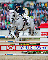 THE DEPUTY, ridden by Jonelle Richards (NZL), competes during Stadium Jumping at the Rolex 3-Day Event at the Kentucky Horse Park in Lexington, Kentucky on April 28, 2013.