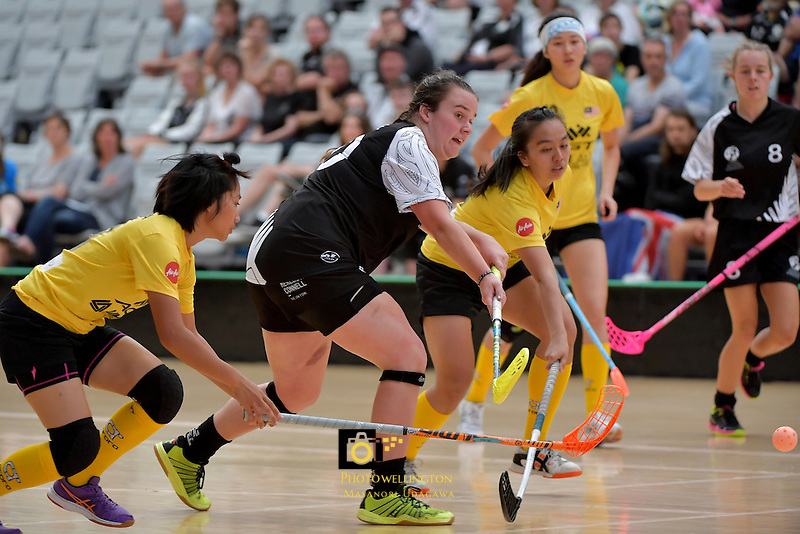 New Zealand's Georgia Kibblewhite in action during the World Floorball Championships 2017 Qualification for Asia Oceania Region - New Zealand v Malaysia at ASB Sports Centre , Wellington, New Zealand on Saturday 4 February 2017.<br /> Photo by Masanori Udagawa<br /> www.photowellington.photoshelter.com.