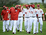 VIERA, FL-  FEBRUARY 26:  Players of the Washington Nationals stretch before the days workout during the Washington Nationals Spring Training at Space Coast Stadium in Viera, FL (Photo by Donald Miralle) *** Local Caption ***