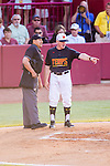 Maryland head coach John Szfec disputes a call in the first inning of the game between the South Carolina Gamecocks and the Maryland Terrapins.