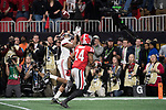 ATLANTA, GA - JANUARY 08: DeVonta Smith #6 of the Alabama Crimson Tide catches the winning touchdown against the Georgia Bulldogs during the College Football Playoff National Championship held at Mercedes-Benz Stadium on January 8, 2018 in Atlanta, Georgia. Alabama defeated Georgia 26-23 for the national title. (Photo by Jamie Schwaberow/Getty Images)