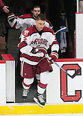 Colin Blackwell (Harvard - 63), Tyler Moy (Harvard - 2) - The Harvard University Crimson defeated the Brown University Bears 4-3 to sweep their first round match up in the ECAC playoffs on Saturday, March 7, 2015, at Bright-Landry Hockey Center in Cambridge, Massachusetts.