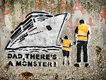 Political graffiti, with boy, father and big ship, Venice, Italy<br /> <br /> &quot;Dad, There's A Moster!&quot; anti-cruise ship in the Grand Canal of Venice.