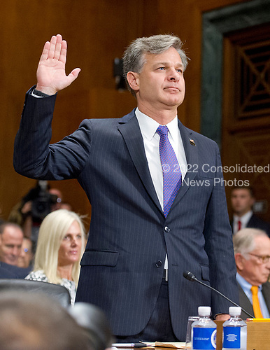 Christopher A. Wray is sworn-in to testify on his nomination to be Director of the Federal Bureau of Investigation (FBI) before the United States Senate Committee on the Judiciary on Capitol Hill in Washington, DC on Wednesday, July 12, 2017.<br /> Credit: Ron Sachs / CNP<br /> (RESTRICTION: NO New York or New Jersey Newspapers or newspapers within a 75 mile radius of New York City)