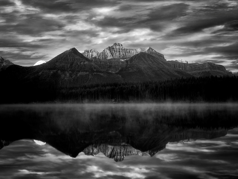 Herbert Lake with Mt. Temple reflection and sunrise. Banff National Park, Alberta, Canada