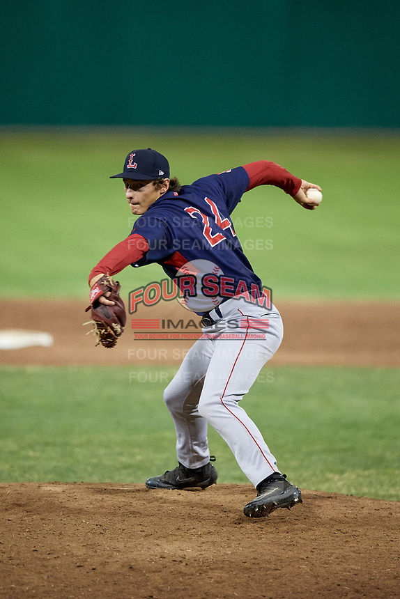 Lowell Spinners relief pitcher Kris Jackson (24) delivers a pitch during a game against the Batavia Muckdogs on July 16, 2018 at Dwyer Stadium in Batavia, New York.  Lowell defeated Batavia 4-3.  (Mike Janes/Four Seam Images)