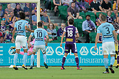 9th January 2018, nib Stadium, Perth, Australia; A League football, Perth Glory versus Melbourne City; Liam Reddy of the Perth Glory dives in vain and is beaten by the free kick from Ross McCormack of Melbourne City  during the first half