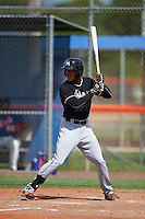 GCL Marlins shortstop Garvis Lara (3) at bat during the first game of a doubleheader against the GCL Mets on July 24, 2015 at the St. Lucie Sports Complex in St. Lucie, Florida.  GCL Marlins defeated the GCL Mets 5-4.  (Mike Janes/Four Seam Images)