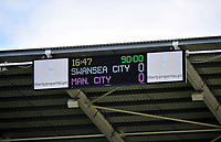 Pictured: Final score at the Liberty stadium.<br /> Saturday 04 May 2013<br /> Re: Barclay's Premier League, Swansea City FC v Manchester City at the Liberty Stadium, south Wales.