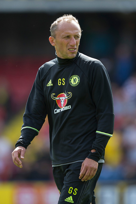 Gianluca Spinelli, Chelsea's Goalkeeping Coach, during the pre-match warm-up <br /> <br /> Photographer Craig Mercer/CameraSport<br /> <br /> Football - The Premier League - Watford v Chelsea - Saturday 20 August 2016 - Vicarage Road - Watford<br /> <br /> World Copyright &copy; 2016 CameraSport. All rights reserved. 43 Linden Ave. Countesthorpe. Leicester. England. LE8 5PG - Tel: +44 (0) 116 277 4147 - admin@camerasport.com - www.camerasport.com