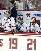 Mike Ayers (BC - Assistant Coach), Ryan Fitzgerald (BC - 19), Austin Cangelosi (BC - 9), Matthew Gaudreau (BC - 21) - The visiting University of Vermont Catamounts tied the Boston College Eagles 2-2 on Saturday, February 18, 2017, Boston College's senior night at Kelley Rink in Conte Forum in Chestnut Hill, Massachusetts.Vermont and BC tied 2-2 on Saturday, February 18, 2017, Boston College's senior night at Kelley Rink in Conte Forum in Chestnut Hill, Massachusetts.