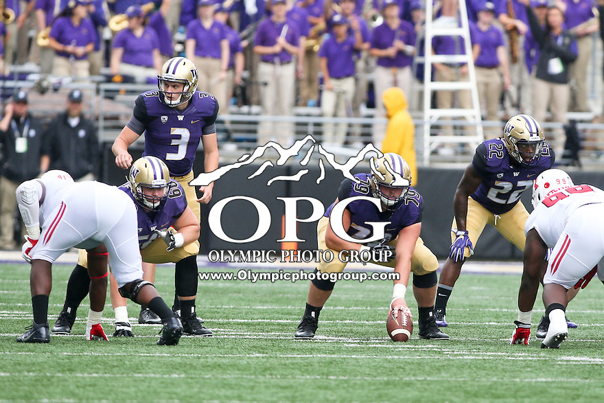 03 September 2016: Washington's Coleman Shelton against Rutgers.  Washington defeated Rutgers 48-13 at the University of Washington in Seattle, WA.