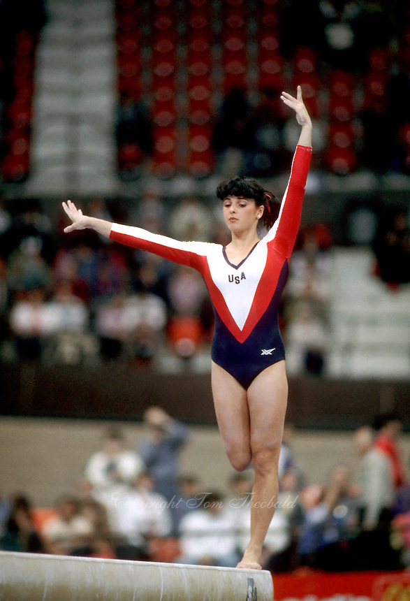 Kelly Garrison of USA balances on balance beam during team competition at 1985 World Championships in November at Montreal, Canada.  Garrison appeared in 3 world championships and was team captain of the 1988 Olympic team. (Photo by Tom Theobald)