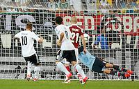 LVIV, UCRANIA, 17 JUNHO 2012 - EURO 2012 - ALEMANHA X DINAMARCA - Lukas Podolski  jogador da Alemanha marca seu gol contra a Dinamarca em partida pelo terceira rodada do grupo B da Euro 2012 em Lviv na Ucrania neste domingo, 17. (FOTO: PIXATHLON / BRAZIL PHOTO PRESS).