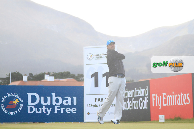 Florian Fritsch (GER) on the 11th tee during Round 1 of the 2015 Dubai Duty Free Irish Open, Royal County Down Golf Club, Newcastle Co Down, Northern Ireland. 28/05/2015<br /> Picture Thos Caffrey, www.golffile.ie