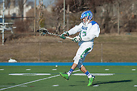 Alexander Gomes,'15, shoots as the Salve Regina Men's Lacrosse team battles Anna Maria at Gaudet Field.