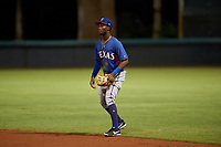AZL Rangers second baseman Keithron Moss (3) during an Arizona League game against the AZL Dodgers Mota at Camelback Ranch on June 18, 2019 in Glendale, Arizona. AZL Dodgers Mota defeated AZL Rangers 13-4. (Zachary Lucy/Four Seam Images)
