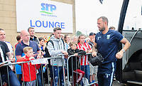 Sheffield Wednesday's Steven Fletcher gets off the team bus after arriving at Sincil Bank<br /> <br /> Photographer Chris Vaughan/CameraSport<br /> <br /> Football Pre-Season Friendly - Lincoln City v Sheffield Wednesday - Saturday July 13th 2019 - Sincil Bank - Lincoln<br /> <br /> World Copyright © 2019 CameraSport. All rights reserved. 43 Linden Ave. Countesthorpe. Leicester. England. LE8 5PG - Tel: +44 (0) 116 277 4147 - admin@camerasport.com - www.camerasport.com
