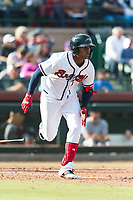 Peoria Javelinas center fielder Cristian Pache (27), of the Atlanta Braves organization, hustles down the first base line during the Arizona Fall League Championship Game against the Salt River Rafters at Scottsdale Stadium on November 17, 2018 in Scottsdale, Arizona. Peoria defeated Salt River 3-2 in 10 innings. (Zachary Lucy/Four Seam Images)