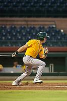 AZL Athletics center fielder Ben Spitznagel (18) bats during a game against the AZL Giants on August 5, 2017 at Scottsdale Stadium in Scottsdale, Arizona. AZL Athletics defeated the AZL Giants 2-1. (Zachary Lucy/Four Seam Images)