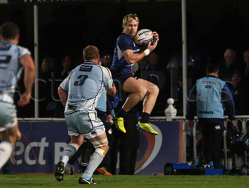 27.10.2012 Dublin, Ireland.Fionn Carr collects the ball midair for Leinster, during the RaboDirect PRO12 game between Leinster and Cardiff Blues from the Royal Dublin Society.