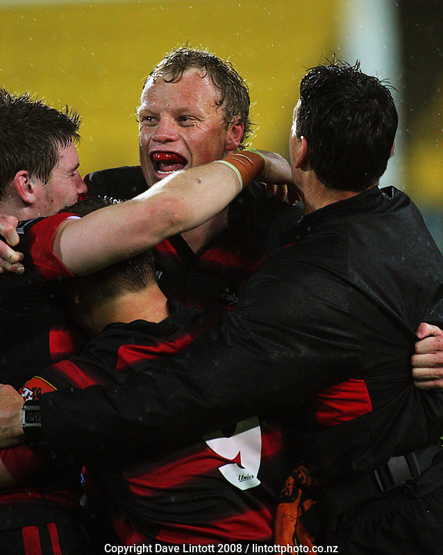 Scott Hamilton celebrates with teammates at the final whistle during the Air NZ Cup Final between Wellington and Canterbury at Westpac Stadium, Wellington, New Zealand on Saturday 25th October 2008.  Photo: Dave Lintott / lintottphoto.co.nz