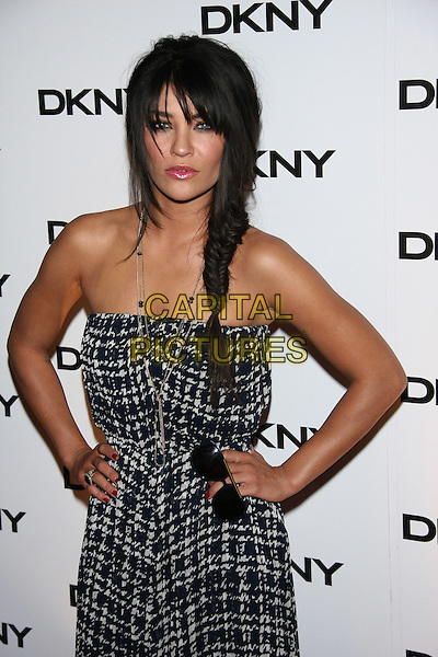 Jessica Szohr.The DKNY Sunglass Soiree at The Beach in the Dream Downtown Hotel, New York, NY, USA..July 26th, 2011.half length grey gray strapless grey gray print white check dress hands on hips braid plait fishtail.CAP/LNC/TOM.©TOM/LNC/Capital Pictures.