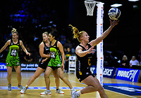Samantha Sinclair takes a pass during the ANZ Premiership netball match between Central Pulse and WBOP Magic at TSB Bank Arena in Wellington, New Zealand on Sunday, 21 April 2019. Photo: Dave Lintott / lintottphoto.co.nz