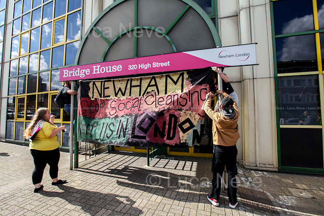 London, 19/09/2015. Today, the &quot;Focus E15 Mothers&quot;, supported by other activist groups, held a demonstration in Stratford (Newham Council) to mark the second anniversary of the &quot;Focus E15 Campaign&quot; and to highlight the housing crisis which afflicts London. The main causes of this long-standing emergency are lack of affordable homes, rising rents and consequently increasing number of evictions. From the organiser Facebook Page: &lt;&lt;To mark the second anniversary of Focus E15 campaign we are organising a march in Newham against evictions and for decent housing for all. [&hellip;] Across the country, the eviction rate has never been so high with 126 families being evicted every day. The housing crisis is escalating and none of the major political parties are offering convincing solutions. Newham Council is led by Labour Mayor Robin Wales [&hellip;]. Under his rule, 400 homes on the Carpenters Estate remain empty while homeless people, whom the council has a statutory duty to house, are forced to move out of London [&hellip;]&gt;&gt;.<br />