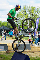 NWA Democrat-Gazette/BEN GOFF @NWABENGOFF<br /> Kenny Belaey, a world champion trials rider from Belgium, performs a demonstration Friday, May 10, 2019, at the Women Shred Village next to Compton Gardens during the Bentonville Film Festival.