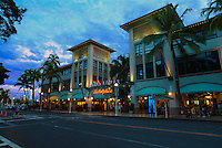 Exterior evening shot of Aloha Tower Marketplace in downtown Honolulu.