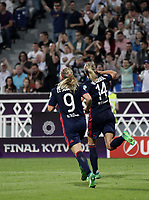 Football, Uefa Women's Champions League Final, VfL Wolfsburg - Olympique Lyonnais, Valeriy Lobanovskyi Stadium in Kiev on May 24, 2018.<br /> Olympique Lyonnais' Ada Hegerberg (r) celebrates after scoring  with her teammate Eug&eacute;nie Le Sommer (l) during the Uefa Women's Champions League Final between  VfL Wolfsburg and Olympique Lyonnais, at the Valeriy Lobanovskyi Stadium in Kiev, on May 24, 2018.<br /> UPDATE IMAGES PRESS/Isabella Bonotto