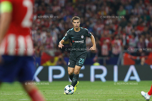 Cesar Azpilicueta (Chelsea), SEPTEMBER 27, 2017 - Football / Soccer : UEFA Champions League Mtchday 2 Group C match between Club Atletico de Madrid 1-2 Chelsea FC at the Estadio Metropolitano in Madrid, Spain. (Photo by Mutsu Kawamori/AFLO) [3604]