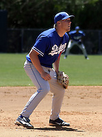 March 28, 2004:  Third baseman Jamie Hoffmann of the Los Angeles Dodgers organization during Spring Training at Dodgertown in Vero Beach, FL.  Photo copyright Mike Janes/Four Seam Images