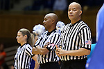 23 November 2014: Match officials (from right): Daryl Humphrey, Wesley Dean, and Karen Preato. The Duke University Blue Devils hosted the Marquette University Golden Eagles at Cameron Indoor Stadium in Durham, North Carolina in a 2014-15 NCAA Division I Women's Basketball game. Duke won the game 83-51.