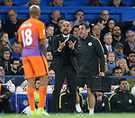 Manchester City's Pep Guardiola shouts at Fabian Delph during the Premier League match at the Stamford Bridge Stadium, London. Picture date: April 5th, 2017. Pic credit should read: David Klein/Sportimage