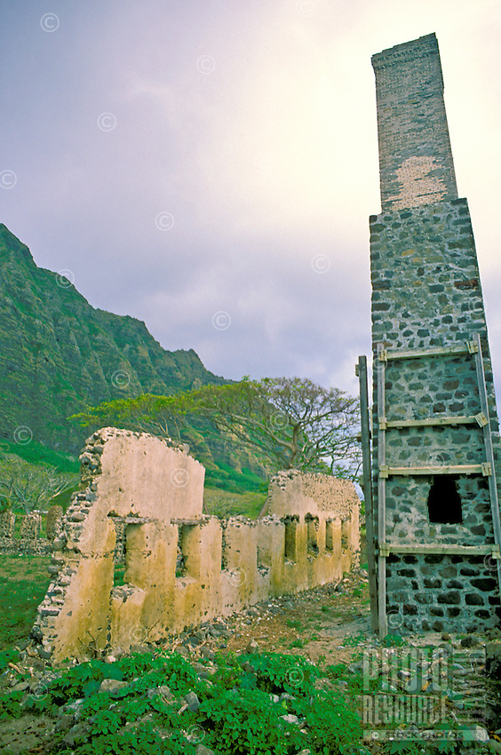 The historic Kualoa Sugar Mill ruins. A once active  sugar mill located along the windward oahu coastline near the popular Kualoa Ranch. Can be seen along kamehameha highway coastal drive.