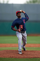 Cleveland Indians pitcher Francisco Perez (46) during an instructional league game against the Cincinnati Reds on October 17, 2015 at the Goodyear Ballpark Complex in Goodyear, Arizona.  (Mike Janes/Four Seam Images)