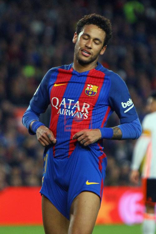 League Santander 2016/2017. Game: 28.<br /> FC Barcelona vs Valencia CF: 4-2.<br /> Neymar Jr.