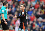 Wayne Rooney of Manchester United has words with Referee Kevin Friend<br /> - Barclays Premier League - Stoke City vs Manchester United - Britannia Stadium - Stoke on Trent - England - 26th December 2015 - Pic Robin Parker/Sportimage