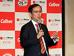 "May 25, 2017, Tokyo, Japan - Chinese online commerce giant Alibaba CEO Daniel Zhang speaks as Japanese food maker Calbee will sell their popular breakfast cereal ""Frugra"" to Chinese market through Alibaba's cross-border e-commerce website ""Tmall Global"" in Tokyo on Thursday, May 25, 2017. Calbee aims at to sell Frugra 100 billion yen in overseas market.   (Photo by Yoshio Tsunoda/AFLO) LwX -ytd-"