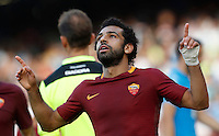 Calcio, Serie A: Napoli vs Roma. Napoli, stadio San Paolo, 15 ottobre. <br /> Roma&rsquo;s Mohamed Salah celebrates after scoring during the Italian Serie A football match between Napoli and Roma at Naples' San Paolo stadium, 15 October 2016. Roma won 3-1.<br /> UPDATE IMAGES PRESS/Isabella Bonotto