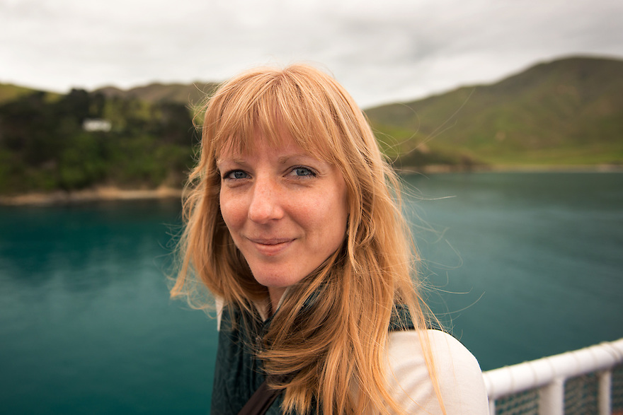 Christine Marozick sails on the Kaitaki Interislander Ferry from Wellington to Picton, New Zealand.